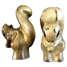 Vintage Deloss Oregon Myrtlewood Wood Carved Squirrel Figurine Statues Signed by Artist