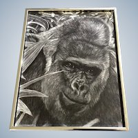 Gorilla Ape Realist Pencil  Animal Drawing Works on Paper