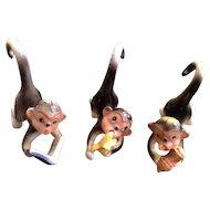Kitsch Figurines Monkey Ceramic 3 Blue Rhinestone Nosed Figurines Vintage