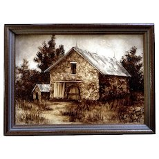 Constance Smith, Landscape Shades of Kansas With Barn, Oil Painting on Board Signed By Well Known Kansas Artist