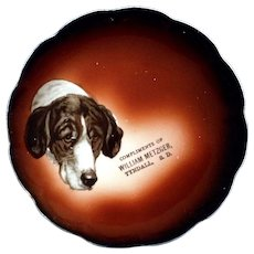 Antique Taylor Smith Taylor Mark 1908-1915 Hound Dog William Metzger China Collectible Souvenir Plate Tyndall, South Dakota