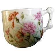 Vintage KPM Germany Mustache Cup with Floral Carnations Ceramic Porcelain