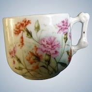Vintage KPM Germany Mustache Cup with Floral Carnations Ceramic Porcelain