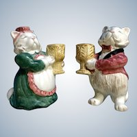 Fitz & Floyd Candle Holders Kittens of Knightsbridge FF Figurines 1988 Discontinued Cat
