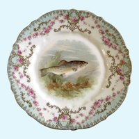 Antique Fish Carl Tielsch CT Germany Luncheon Plate Porcelain