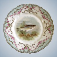 Fish Luncheon Plate Carl Tielsch CT Germany Antique Porcelain Hand Painted Gold Trim 1900-1909