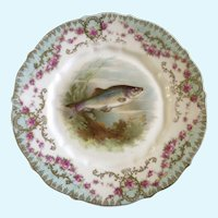 Carl Tielsch, Fish CT Germany Antique Porcelain Luncheon Plate