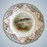 """Carl Tielsch Fish CT Germany Antique Porcelain Luncheon Plate 8-1/2"""" Hand Painted Gold Trim 1900-1909"""