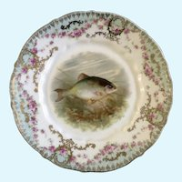 "Carl Tielsch, Fish Luncheon Plate 8-1/2"" CT Germany Porcelain"
