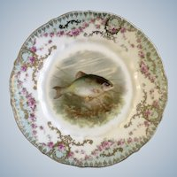 """Carl Tielsch Fish Luncheon Plate 8-1/2"""" CT Germany Porcelain Hand Painted Gold Trim 1900-1909 Antique"""