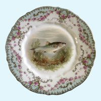 Antique Carl Tielsch Fish Luncheon Plate 8-1/2""