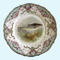 "Antique Carl Tielsch Fish Luncheon Plate 8-1/2"" Hand Painted"