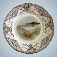 """Antique Carl Tielsch Fish Luncheon Plate 8-1/2"""" CT Germany Porcelain Hand Painted Gold Trim 1900-1909"""
