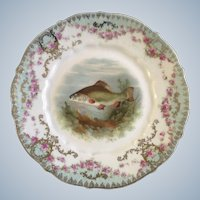"""Antique Fish Luncheon Plate Carl Tielsch CT Germany Porcelain 8-1/2"""" Hand Painted Gold Trim 1900-1909"""