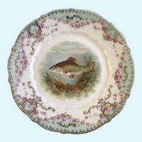 "Fish Luncheon Plate 8-1/2"" Hand Painted Gold Trim"