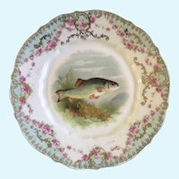 Fish Luncheon Plate Carl Tielsch CT Germany Hand Painted