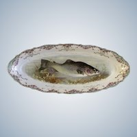 "Carl Tielsch Fish Serving Platter  CT Germany Porcelain 21-1/2"" Hand Painted Gold Trim 1900-1909 Antique"