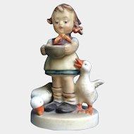 Be Patient, Goebel Hummel Figurine #197 Girl Feeding Ducks FULL BEE TMK-2 1955 Circle C W. Goebel Germany