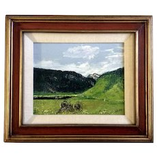 Herb Robinson, Oil Painting Hermit Hay Rake Field at the Foothills Signed by Texas Artist