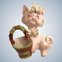 Pink Cat Figurine Porcelain Planter Mid-Century Wales Japan Floral with Basket Animal with Gold Highlights