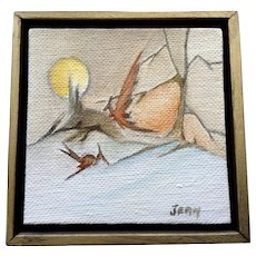 Small Acrylic Painting of Pterodactyl Dinosaurs Signed by Artist
