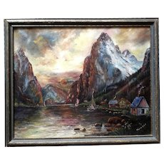 Mabel E. Price, Sailboats on High Mountain Lake Oil Painting Signed by Listed Artist