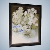 Jeannie Pear (1922- ) Calico Cat Hiding Behind Flowers, Oil Painting On Canvas Signed By Listed Artist