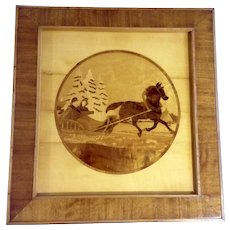 Vintage Art Wood Inlay Marquetry Picture Sleigh Ride Signed by Artist R Saaristo