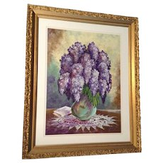 Jeannie Putman, Acrylic Painting Works on Paper, Original Signed by Artist , Purple Lilacs and Shadows