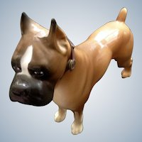Vintage Plastic Boxer Dog Figurine With Original Collar 1960's Toy