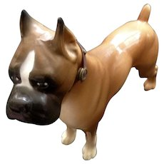 Vintage Plastic Boxer Dog With Original Collar 1960's Toy Figurine