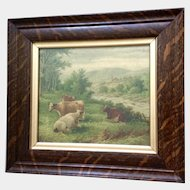 Antique Chromolithograph Pastoral Landscape Print, Cows in a Pasture