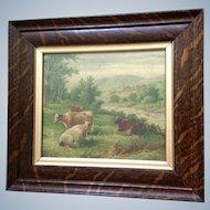 Antique Chromolithograph Pastoral Landscape Print, Cows in a Pasture