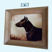 Dirk Van Driest (1889 - 1989) Doberman Pinscher Dog Portrait Oil Painting