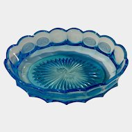 "Fostoria Glass Coin Blue Oval Bowl 9"" 1958-1982"