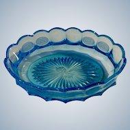 "Fostoria Glass Coin Blue Oval Bowl 9"" 1958-1982"