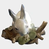 "Retired Lladro Feeding Gray Rabbit Porcelain Figurine 3.5"" NEEDS Restored"