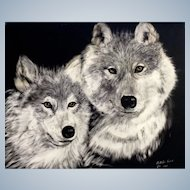 Bobbi Sisk, Gray Wolves Painting Wolf Scratchboard Art Etching Signed by Artist