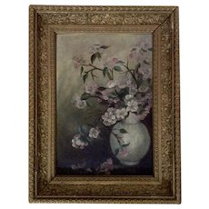 Antique Oil Painting Peach Blossom Flower Sprigs In A Vase Unsigned by Artist