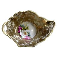 Beautiful Hand Painted Roses Bowl with Gold Embellishments Vintage Porcelain