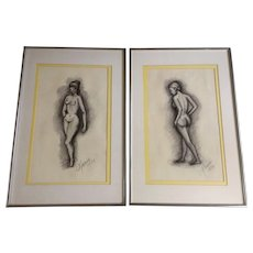 Maria, 1973 Female Nude Pencil Sketch Pair on Art Paper