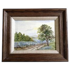 S. Oelschlegel, Tree And A lonely Rural Fenced Road, Oil Painting on Canvas Board Signed by Artist