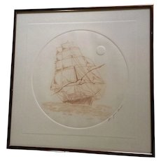 Juan Quevedo, Sailing Ship Seagull, Exquisite Original Limited Edition Sepia Etching Print Numbered 5/100 Hand Signed by Listed Artist Works on Paper