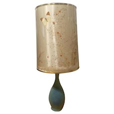 Van Briggle Art Pottery Lamp Peacock Matte Ming Blue With Butterfly Shade Mid-Century Signed Fred Wills Colorado