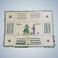 "1936 Original Sampler Handmade Stitched By Betty Green 15-1/2"" Wide Unframed"