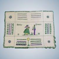 "1936 Original Sampler Handmade Stitched By Betty Green 15-1/2"" Wide Unframed"