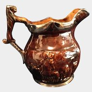 Earthenware Pitcher Staffordshire English Jug Brown and Silver Embossed with Lion Head Thumb Rest - Arthur Wood & Son England #4896