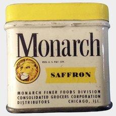 Vintage Monarch Saffron Tin Chicago ILL. Finer Foods Division