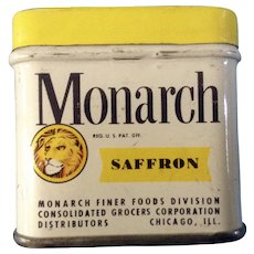 Vintage Monarch Saffron Tin Chicago ILL. Finer Foods Division