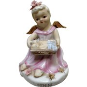 Vintage Lefton China Girl Angel Gemini Zodiac Twins Baby Basket Hand Painted Figurine K8650